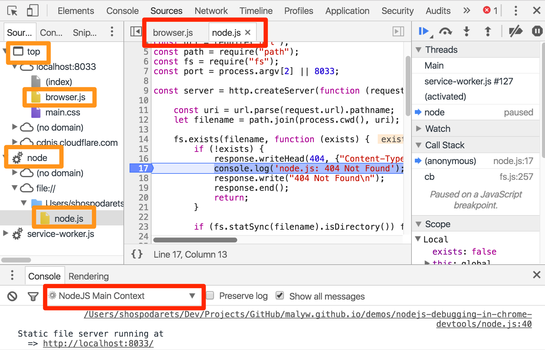 Node js debugging with Chrome DevTools (in parallel with
